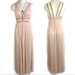 TFNC LONDON Blush Pink Pleated Willis Maxi Dress
